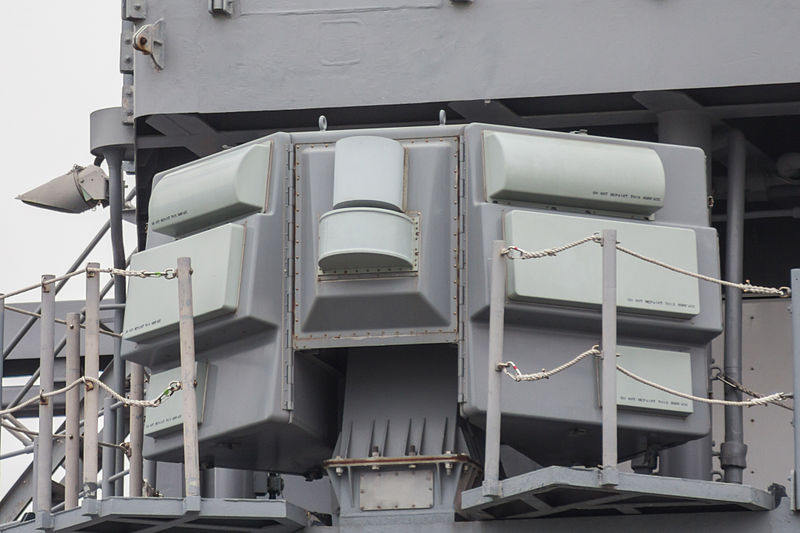 AN-SLQ-32_Electronic_Warfare_Suite_on_USS_CG-70_Lake_Erie_at_Osaka_(2014_April_13).jpg